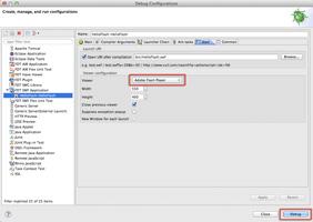 新たに作られたプロジェクトの Debug Configurations にある Flash デバッグプレイヤーの設定