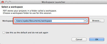 Workspace Launcher ダイアログ