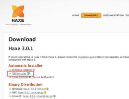 Haxe SDK のダウンロードページ